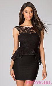 Buy Short Sleeveless Lace Peplum Dress at PromGirl