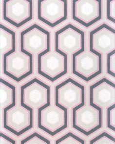 Hicks' Hexagon Wallpaper Light and dark grey, pink and white hexagon design