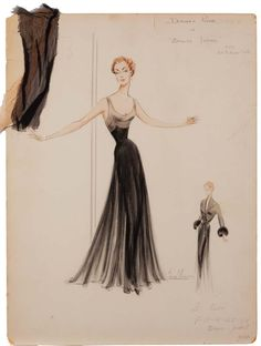 Bill Thomas costume sketch of Deborah Kerr for Beloved Infidel
