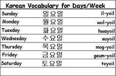 Korean Vocabulary Words for Days of the Week - Learn Korean