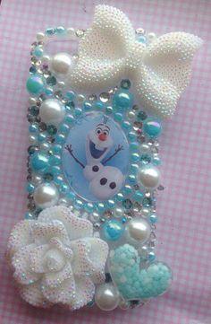 Frozen inspired OLAF hard bling case white blue by SparkleMeGlam, £14.99