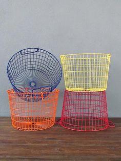 Love the Orange & Blue metal storage basket -- entryway/mudroom. Small Space Storage, Cube Storage, Diy Storage, Storage Baskets, Entryway Storage, Entryway Ideas, Kitchen Storage, Food Storage, Metal Baskets