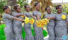 Gray lace bridesmaids dresses