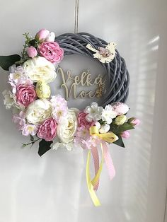 Veľkonočný veniec na dvere s pivonkami, vajíčkami, vtáčikom, nápisom Veľká Noc Grapevine Wreath, Peony, Spring Time, Grape Vines, Floral Wreath, Easter, Wreaths, Home Decor, Flip Flops