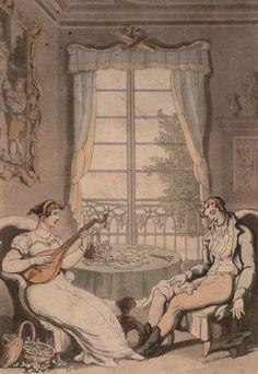 Rowlandson, Thomas (1756-1827) - Girl Plays Mandolin To Sleeping Young Man