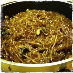 Chap chae! Korean glass noodle. Sweet potato starch! <3 sister