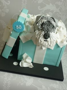 Schnauzer in a Box Anniversary Cake by The Designer Cake Company