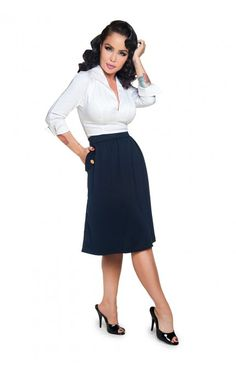 Pinup Girl Clothing- Top Brass Skirt in Navy | Pinup Girl Clothing