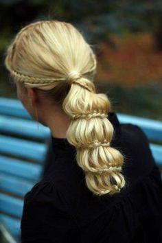 Braids, ponytail.