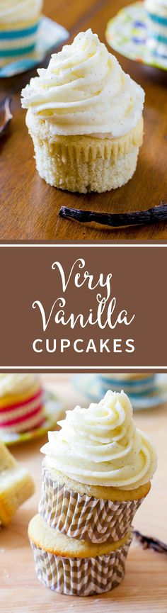 My favorite homemade very vanilla cupcake recipe. Ditch that boxed mix, these are 1,000% better!! Recipe on sallysbakingaddiction.com
