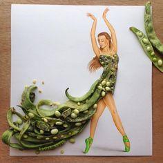 """""""Miss bean"""" by Edgar Artis.  Dress made of beans"""