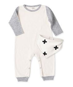 Look at this Tesa Babe Ivory & Heather Gray Positives Playsuit & Bib - Infant on #zulily today!