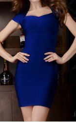 $45.54 Solid Color Slimming Short Sleeves Beam Waist Polyester Sexy Dress For Women