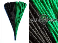 Show off your Slytherin pride with these two tone synthetic dreads! ♥  See more #AcidroseDesigns #synthetic #dreads @ ww.facebook.com/acidrosedesigns