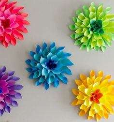 If you're looking to COLORIZE your Easter, then she has the perfect Easter paper craft for you! Paper Dahlia Flowers are easy to make, look fantastic on any wall, and they are an easy craft to get the kids involved in making!