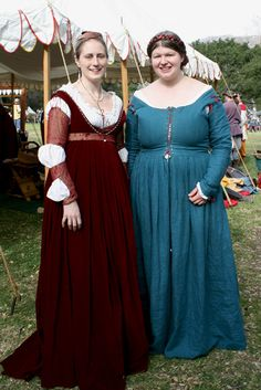 For Larkspur 2013 - Italian Renaissance (left, red) - verrrrrry low bodice and a belt! I like that the sleeves and belt match and the rest is a solid.