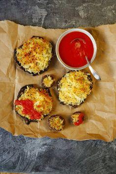 Cheesy, Crispy Pizza Portobello Mushrooms from Katie Workman/ themom100.com.  Recipe from Dinner Solved!