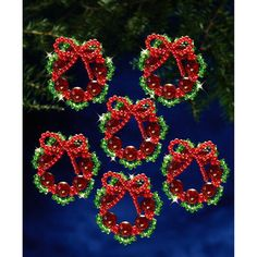 Holiday Beaded Ornament Kit-Cranberry Wreath