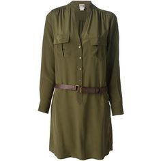 HAUTE HIPPIE belted shirt dress ($275) ❤ liked on Polyvore featuring dresses, vestidos, brown dress, haute hippie dresses, long shirt dress, silk shirt dress and short silk dress