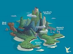 A map of Peter Pan's Never Never Land with all of the features highlighted, including, Skull Rock, Mermaid Lagoon, The Lost Boy's Hideout and Pirate's Cove!