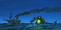 Tom Scherman was known for his model-making skills - and Tom models were impressive - but he was also a painter and did beautiful paintin. Nautilus Submarine, Leopard Shark, Disneyland World, Toms, Walt Disney Co, Beneath The Sea, Leagues Under The Sea, Sci Fi Films, Life Aquatic