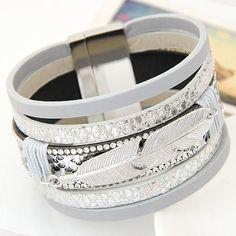 Leaves Wide Magnetic Leather Bracelet
