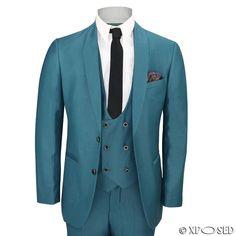 Mens 3 Piece Teal Blue Shawl Lapel Slim Fit Vintage Smart Tux Suit Wedding Prom