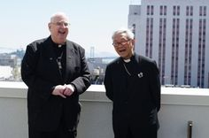 Paulist Fr. Daniel McCotter with Cardinal Joseph Zen Ze-Kiun is pictured on the roof of the new St. Mary's Chinese School building in Chinatown on July 7, 2011.