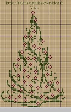 A Christmas Tree by Vava free cross stitch chart on Talons Aiguilles (site is in French) at http://talonsaiguilles.over-blog.fr/article-free-du-lundi-un-sapin-de-noel-86269740.html