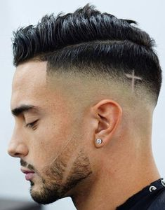 As one of the latest hair trends for men, the skin fade comes in a variety of cuts, such as a high, mid and low bald fade haircut. The low fade haircut can best be described as a lasting style that only gets better with time. Barber Haircuts, Cool Mens Haircuts, Crew Cut Hair, Hair Designs For Men, Mens Haircut Designs, Shaved Hair Designs, Men Hair Color, Faded Hair, Hair Tattoos