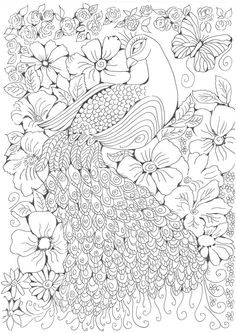 Printable Adult Coloring Pages, Coloring Book Pages, Coloring Sheets, Diy Bag Painting, Peacock Coloring Pages, Rangoli Border Designs, Peacock Painting, Devian Art, Color Pencil Art