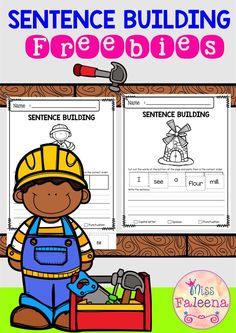 There are 10 pages of building writing worksheets in this product. These pages are great for pre-K, kindergarten and first grade students. These pages will teach children to read, write and build sentences. Children are encouraged to use thinking skills while improving their comprehension and writing skills. These pages are great for morning work, word work and literacy centers. Preschool | Kindergarten | First Grade | First Grade | Free Sentence Building