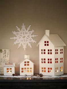 NEW Three House Tea Light Lanterns - Candles & Holders - Christmas