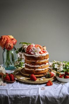 strawberry milk tres leches cake