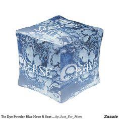 Tie Dye Powder Blue Have A Seat Cube Pouf by Janz