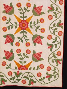 Detail of Foral Applique with Vining Floral Border, c. 1850 from Betsey Telford-Goodwin's Rocky Mountain Quilts
