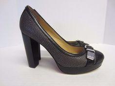 Coach Shoes 8 B Gray Black Heels Pumps Snake Pattern Buckle Trim #Coach #PumpsClassics