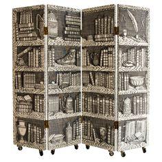 """Four Panel """"Library"""" Trompe L'Oeil Folding Screen by Fornasetti 