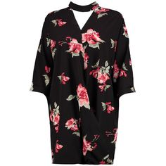 Boohoo Emmaline Floral Choker Wrap Shirt Dress | Boohoo ($21) ❤ liked on Polyvore featuring dresses, white mini dress, body con dress, white party dresses, wrap maxi dress and white floral dress