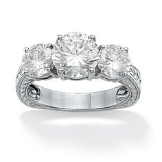 3.60 TCW Round Cubic Zirconia Platinum over Sterling Silver 3-Stone Bridal Engagement Ring at PalmBeach Jewelry