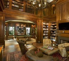 Trendy Home Library Room Modern Window Seats Home Library Design, House Design, Design Desk, Floor Design, Traditional Family Rooms, Traditional Kitchens, Traditional Interior, Traditional House, Traditional Design