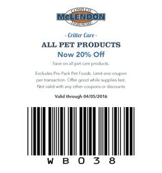 Critter Care ALL PET PRODUCTS Now 20% Off Save on all pet care products. Excludes Pro-Pack pet foods