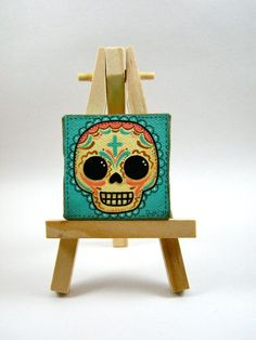 Sugar Skull Mini Canvas Painting by MyMayanColors on Etsy Original Art by My Mayan Colors (Ruth Barrera). All images are the sole property of My Mayan Colors and not intended for copy Small Canvas Paintings, Mini Canvas Art, Mini Paintings, Miniature Paintings, Painting Canvas, Diy Arts And Crafts, Cute Crafts, Sugar Skull Art, Sugar Skulls