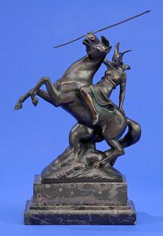Valentin, Max 1875 - 1931 Amazone zu Pferd. Bronze. Signiert. Marmorsockel. H 48 cm — Skulpturen, Möbel, Kunsthandwerk