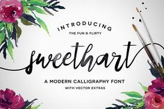 Sweethart is a fun & flirty script font with some rad bonuses! It's fat-to-thin brush strokes and imperfect baseline give it a fun and stylish aesthetic perfect for typography, branding, logo design, invitations, and prints. Script Fonts, Calligraphy Fonts, New Fonts, Typeface Font, Typography Fonts, Modern Calligraphy, Sans Serif, Texture Web, Online Fonts