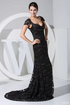 wedding food Slim A-line with cap sleeve lace overlay evening dress $165.98
