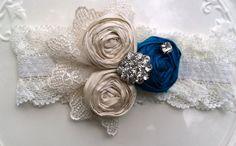 Blue Garter - Rosette and Lace Wedding Garter Bridal Garter set in Royal Blue