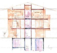 Section Elevation. Luzi House. Jenaz, Graubunden, Switzerland. Peter Zumthor. 2002