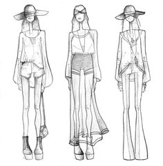 Fashion Designer Sketches Step By Step. Fashion Sketching For Beginners Create a good croquis. A croquis is the basic drawing of a model pose Illustration Mode, Fashion Illustration Sketches, Fashion Sketchbook, Fashion Design Sketches, Sketch Design, Fashion Drawings, Design Illustrations, Fashion Designers, Moda Fashion