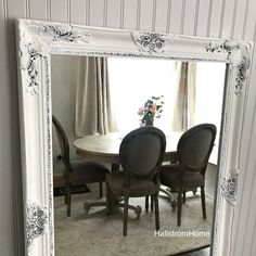 White Shabby Chic Mirror Large Bathroom Vanity Baroque Wall Ornate Custom